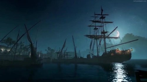 Pirate Ship At Night