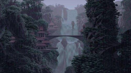 rainy waterfall pixel desktop wallpaper