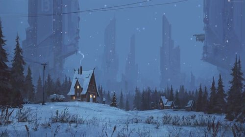 Winter Houses Sci Fi Towers