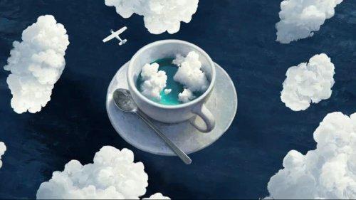 Cup With Plane in Clouds Desktop Wallpaper