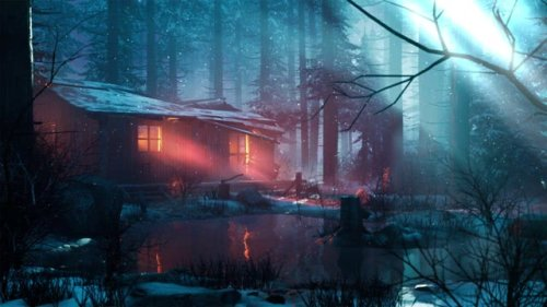 Cabin on the lake in the winter desktop wallpaper